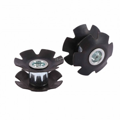 Bolany 2PCS Bicycle Headset MTB Road Bike Cycling Steer Lmported Steel Black Star Nut For 28.6 Fork Tubes Bicycle Parts