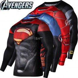Long sleeve T shirt DC Comics Avenger Ironmen dryfit gym compression