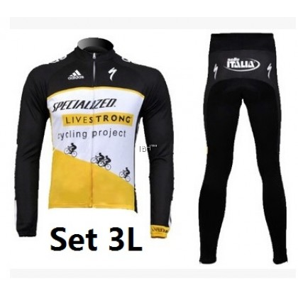 Specialized black Livestrong long sleeve cycling jersey 3D padded long pants padding