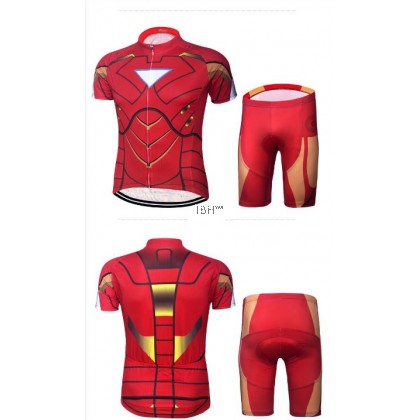 superman spiderman cycling short sleeve jersey set with padding