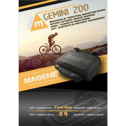 Magene Gemini 210 S3+ USB ANT+ & Bluetooth Speed & Cadence Sensor Compatible Garmin, Bryton, Igpsport Zwift, Onelap